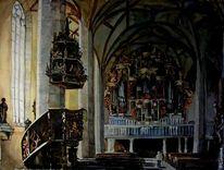 Dom, Aquarellmalerei, Architektur, Aquarell
