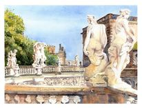 Dresden, Zwinger, Semperoper, Aquarell