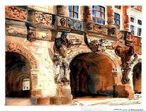 Schloss, Dresden, Aquarell