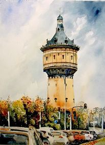 Halle, Aquarell, Architektur