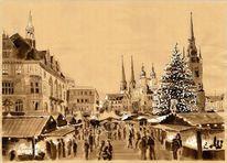 Weihnachten, Halle, Advent, Zeichnungen