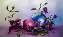 Stillleben, Clematis, Kugel, Blumen
