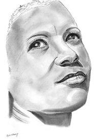 Frau, Bleistiftzeichnung, Farben, Portrait