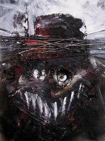 Zähne, Schwarz, Nephilim, Acrylmalerei
