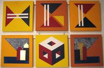 Geometrie, Acrylmalerei, Abstrakt, Gelb