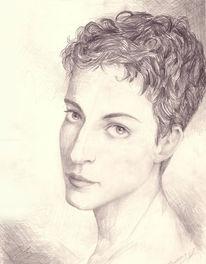 Zeichnung, Schwarz weiß, Portrait, Frau