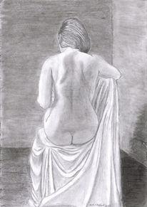 Frau, Akt, Rücken, Bleistiftzeichnung