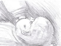 Bleistiftzeichnung, Baby, Schwarz weiß, Flasche