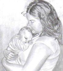 Schwarz weiß, Kind, Zeichnung, Baby