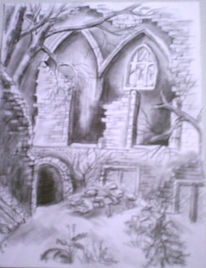 Gebäude, Bleistiftzeichnung, Ruine, Zeichnungen