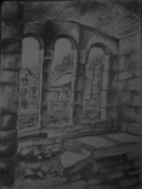 Ruine, Zeichnung, Bleistiftzeichnung, Zeichnungen