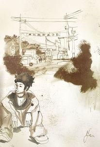 Auto, Straße, Japan, Mädchen