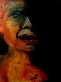Schwarz, Trauer, Gesicht, Verzweiflung