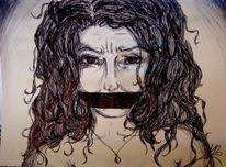 Mund, Kugelschreiber, Schweigen, Frau