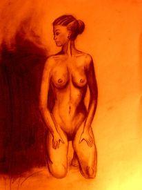 Körper, Zeichnung, Akt, Sitzen