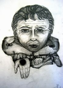 Blick, Zeichnung, Bettler, Mann