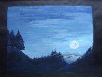 Mond, Stern, Berge, Nacht