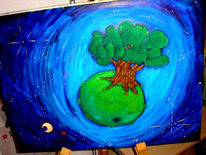 Planet, Baum, Comic, Kinder