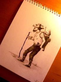 Portrait, Bleistiftzeichnung, Wanderung, Zeichnung