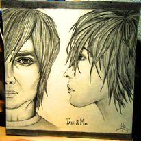 Zeichnung, Mann, Frau, Portrait