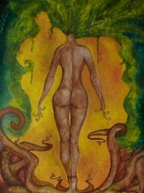 Braun, Frau, Natur, Akt