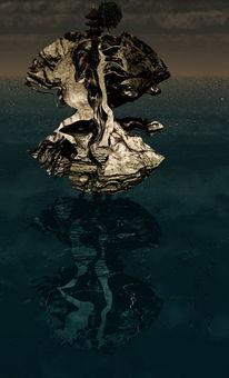 Wasser, Himmel, Digitale kunst, Sonnenuntergang