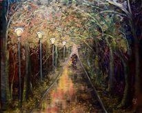 Paar, Baum, Weg, Herbst