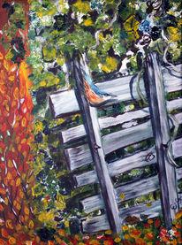 Birken, Herbst, Blätter, Kleiber