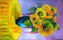 Sonnenblumen, Gelb, Tischtuch, Blüte