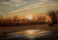 Sonnenaufgang, Pfütze, Landschaft, Baum