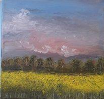 Wolken, Ölmalerei, Baum, Feld