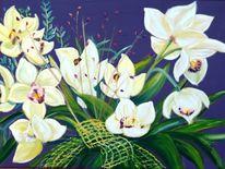 Herbst, Blätter, Orchidee, Pflanzen