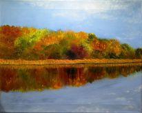 Herbst, Oktober, Ufer, Landschaft