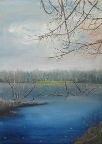 Natur, Ölmalerei, Wasser, Baum