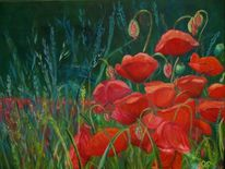 Frühling, Blumen, Blau, Mohn