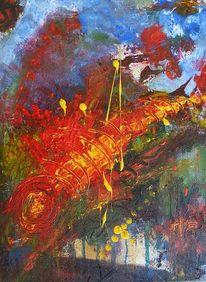 Universum, Rot, Spiralnebel, Acrylmalerei