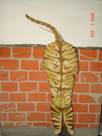Sprung, Katze, Mauer, Malerei