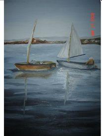 Boot, Meer, Küste, Malerei