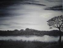 Baum, See, Abend, Ölmalerei