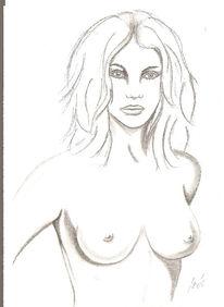 Bleistiftzeichnung, Akt, Skizze, Frau