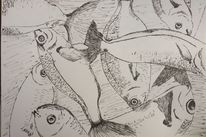 Skizze, Tusche, Stillleben, Zeichnung
