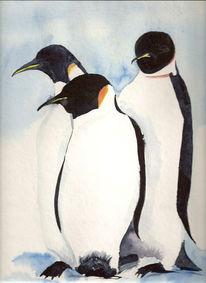 Tiere, Aquarellmalerei, Pinguin, Eis
