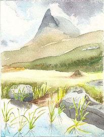Berge, Natur, Aquarellmalerei, Norwegen