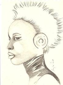 Bleistiftzeichnung, Skizze, Mädchen, Zeichnung