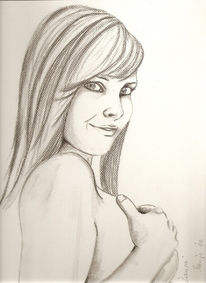 Zeichnung, Glücklich, Mädchen, Bleistiftzeichnung