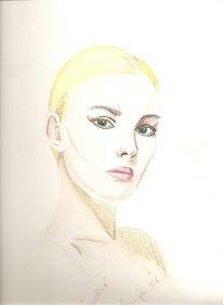 Portrait, Buntstiftzeichnung, Zeichnungen