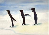 Schnell, Zoo, Aquarellmalerei, Pinguin