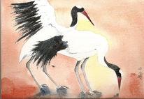 Tiere, Vogel, Aquarellmalerei, Kranich
