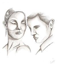 Portrait, Paar, Bleistiftzeichnung, Zeichnungen