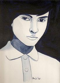 Acrylmalerei, Indigo, Frau, Malerei